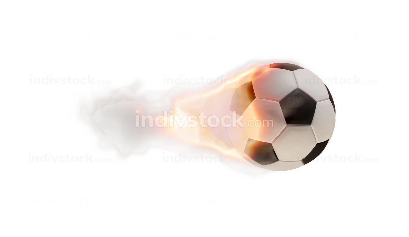 soccer ball fire flames isolated on white 3d-illustration