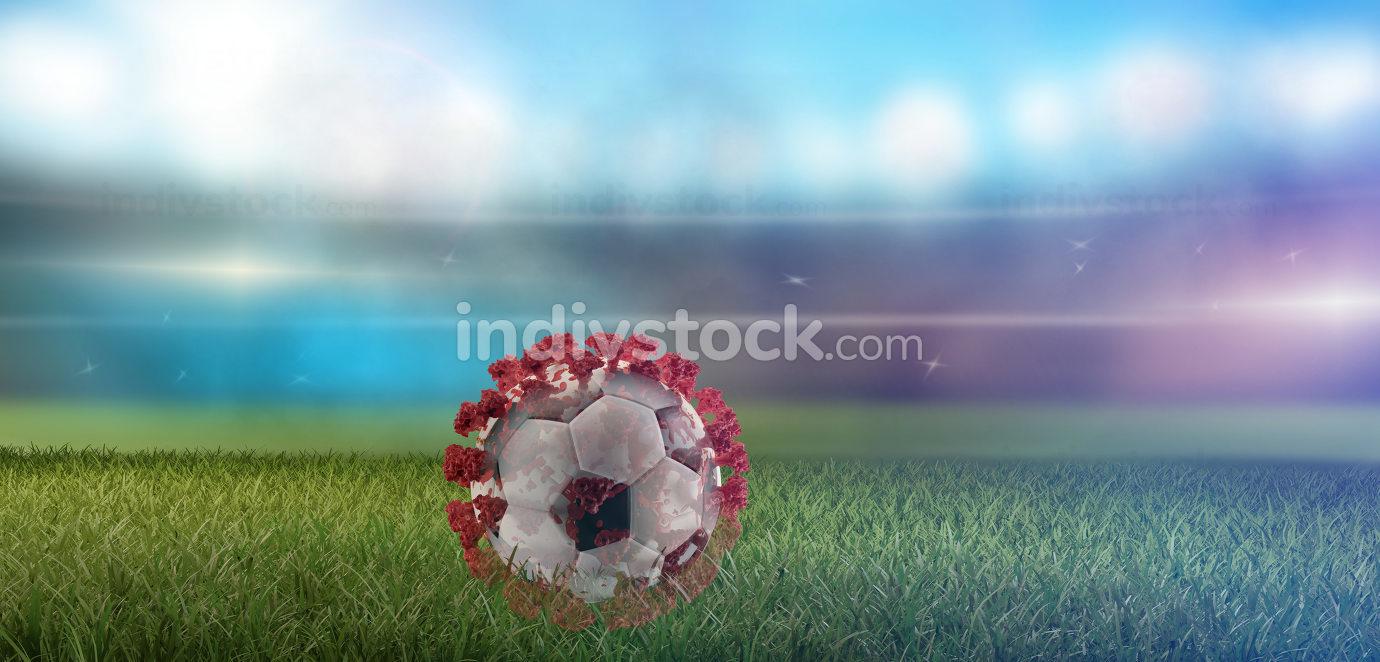soccer ball Virus Covid-19 Coronavirus 3d-illustration