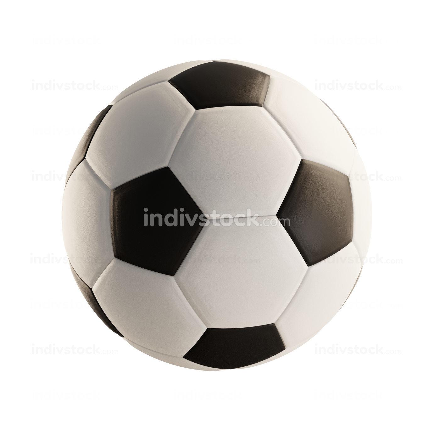 soccer ball white 3d-illustration isolated on white