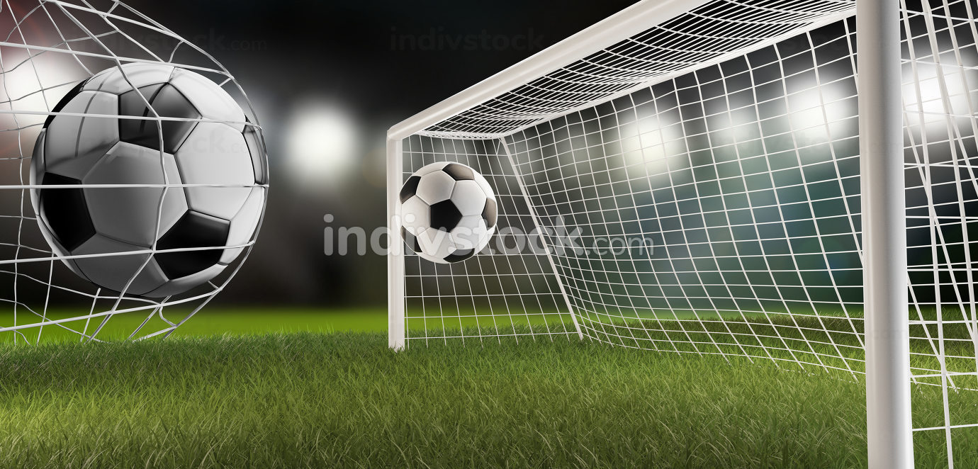soccer football ball and soccer goal 3d-illustration