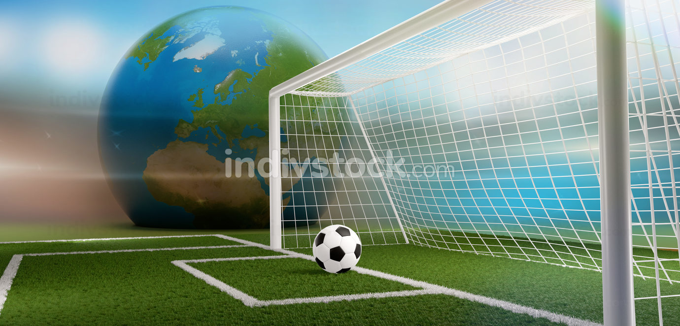 soccer football ball and soccer goal 3d-illustration. elements of this image furnished by NASA
