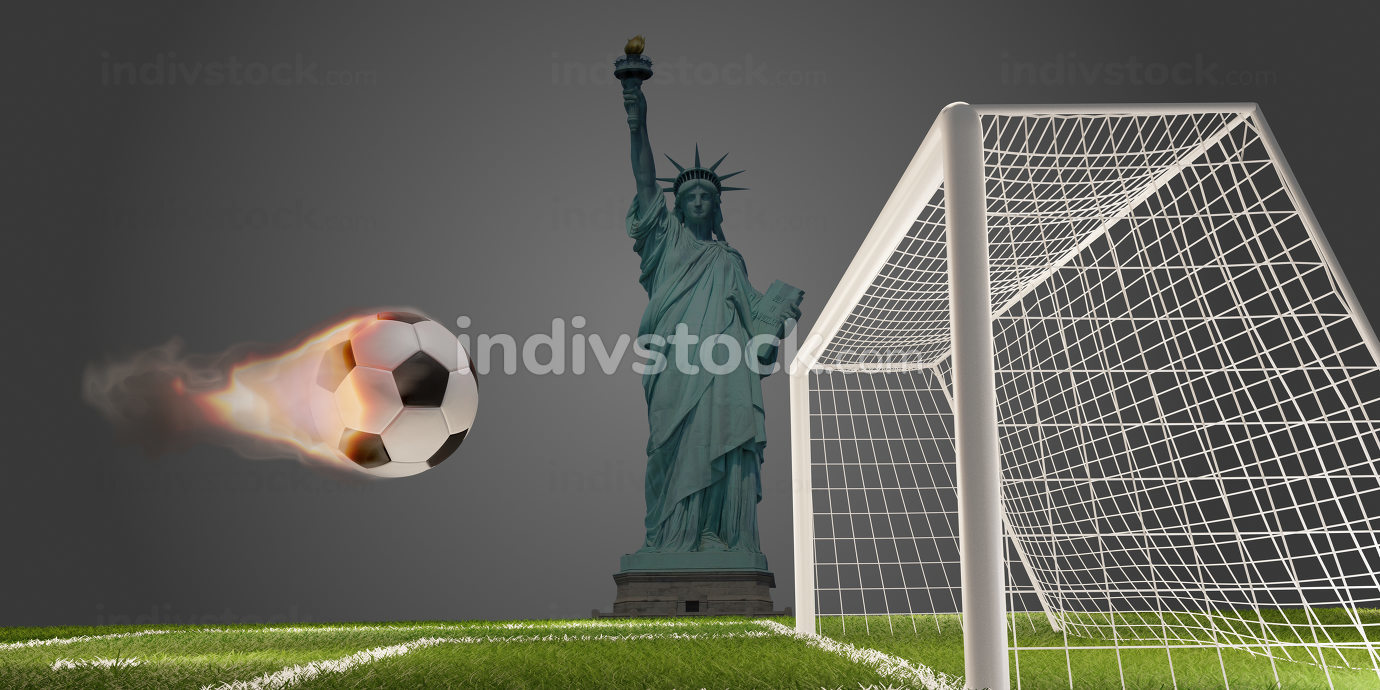 Statue of Liberty and fire flames soccer football ball with soccer goal 3d-illustration