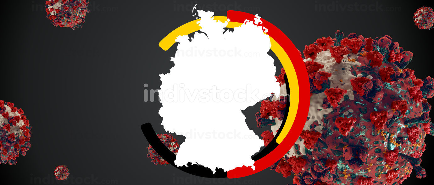 Symbol and outline colors of flag of Germany and Coronavirus 3d-illustration