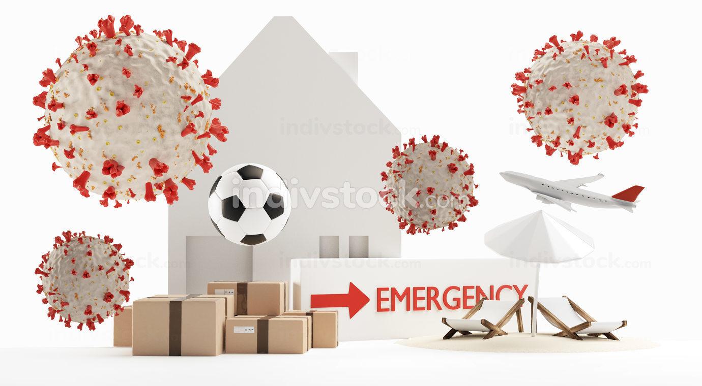 symbolic virus cells. background 3d-illustration