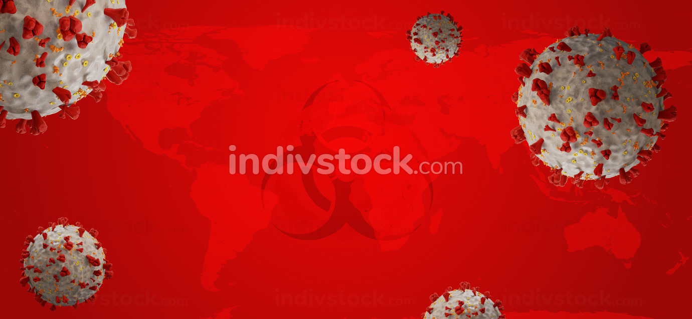symbolic virus cells. background 3d-illustration. elements of this image furnished by NASA