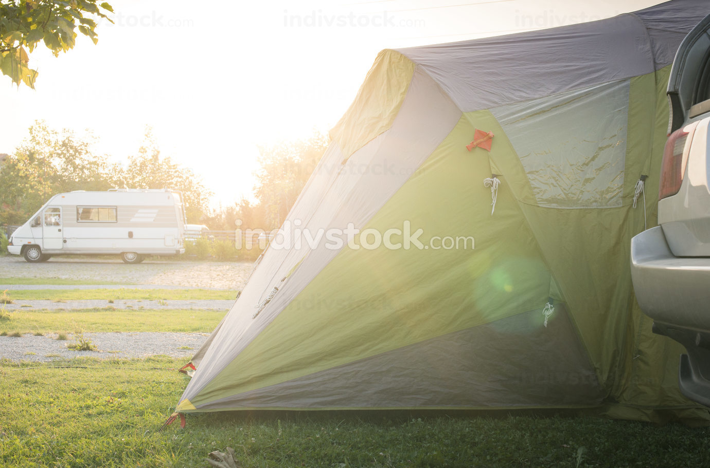 Tent and car on campsite