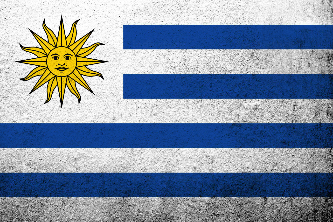 The Oriental Republic of the Uruguay National flag The Sun and Stripes. Grunge background