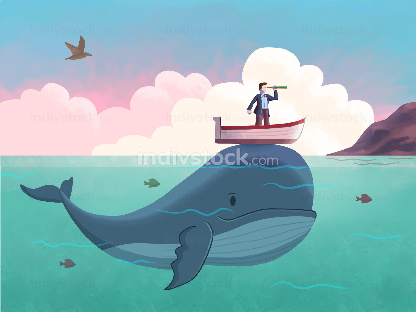 Whale helping man on a boat