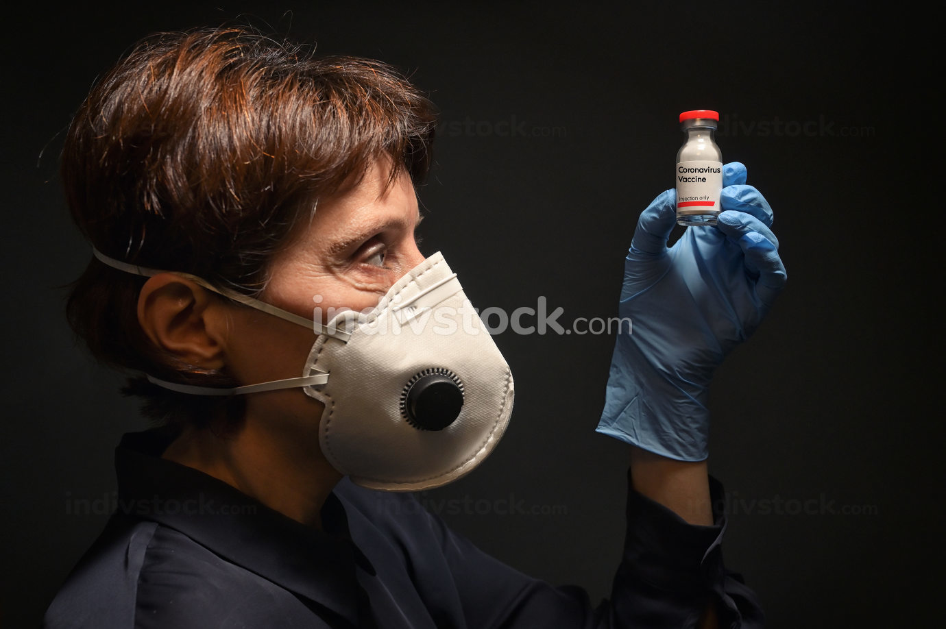Woman Wearing Medical Protective Mask and Vaccine