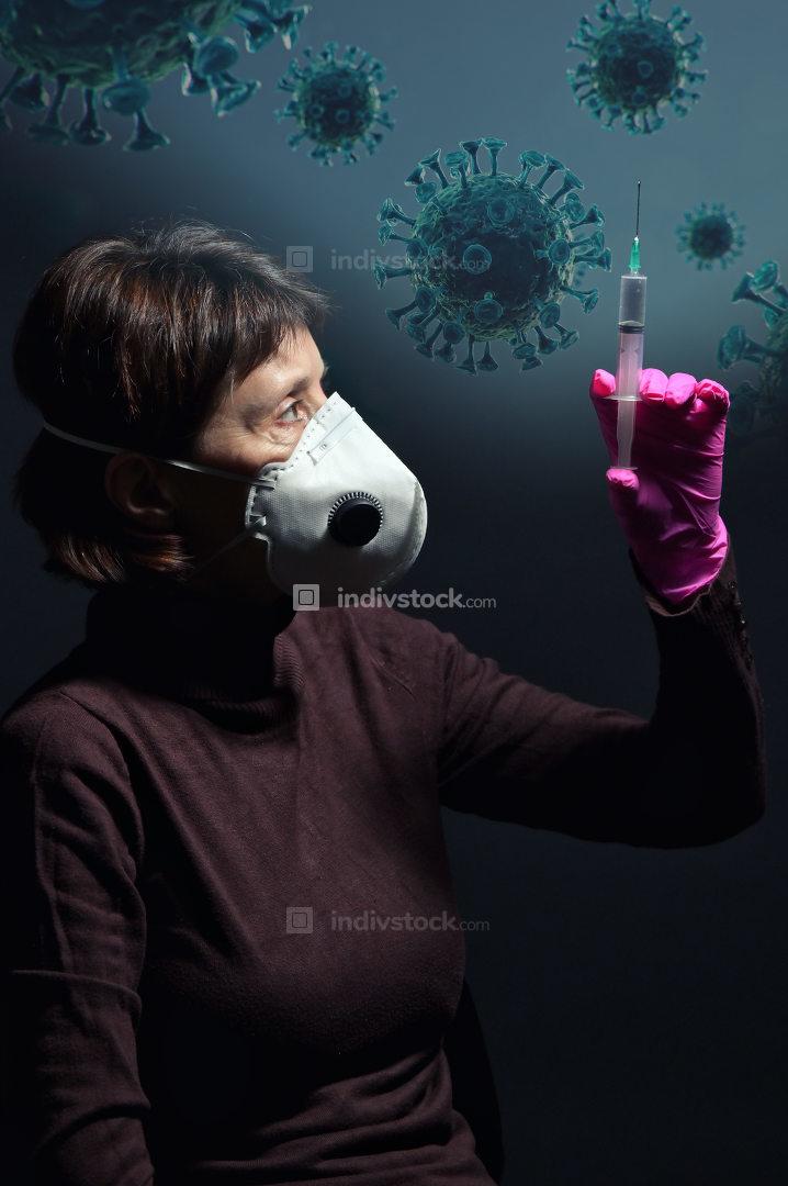 Woman Wearing Medical Protective Virus Mask
