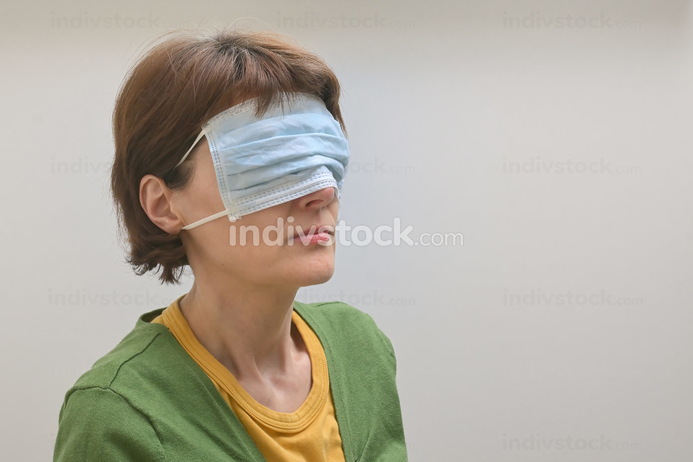 Woman With Medical, Surgical Mask Cover On Her Face