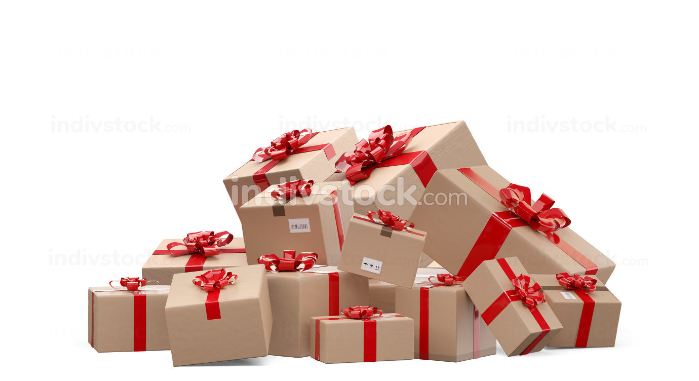 wrapped brown packages delivery boxes 3d-illustration
