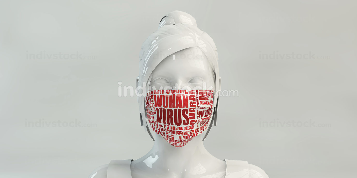 Wuhan Virus with Woman Wearing Protective Face Mask