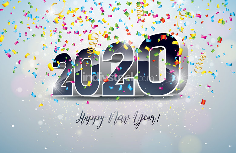 2020 Happy New Year illustration with 3d number