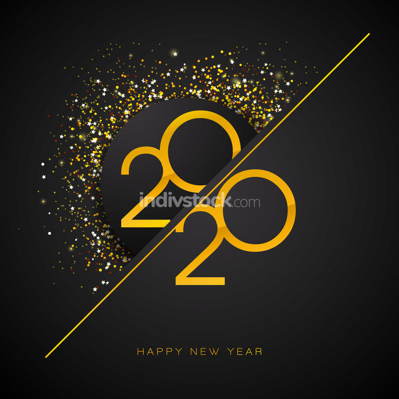 2020 Happy New Year illustration with gold number
