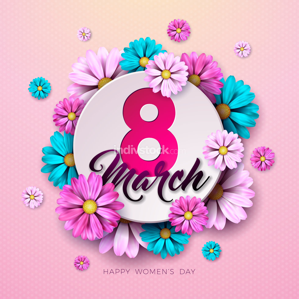 8 March. Happy Womens Day Floral Greeting card. International Holiday Illustration with Flower Design on Pink Background. Vector Spring Template.