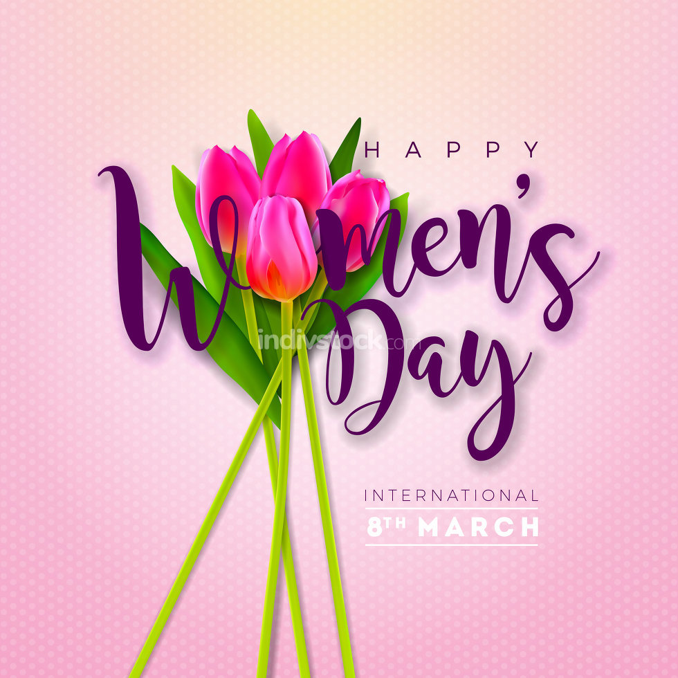 8 March. Womens Day Greeting Card Design with Tulip Flower. International Female Holiday Illustration with Typography Letter on Pink Background. Vector Calebration Template.