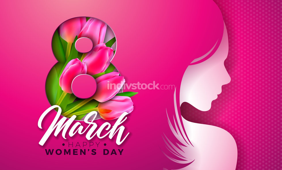 8 March. Womens Day Greeting Card Design with Young Woman Silhouette and Tulip Flower. International Female Holiday Illustration with Typography Letter on Pink Background. Vector Calebration Template.
