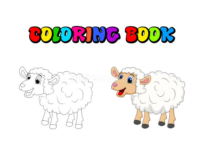 Cartoon Cute White Sheep coloring