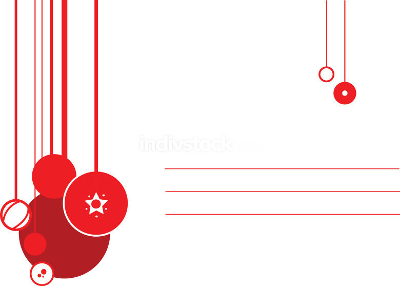 Christmas card with ornaments and blank lines