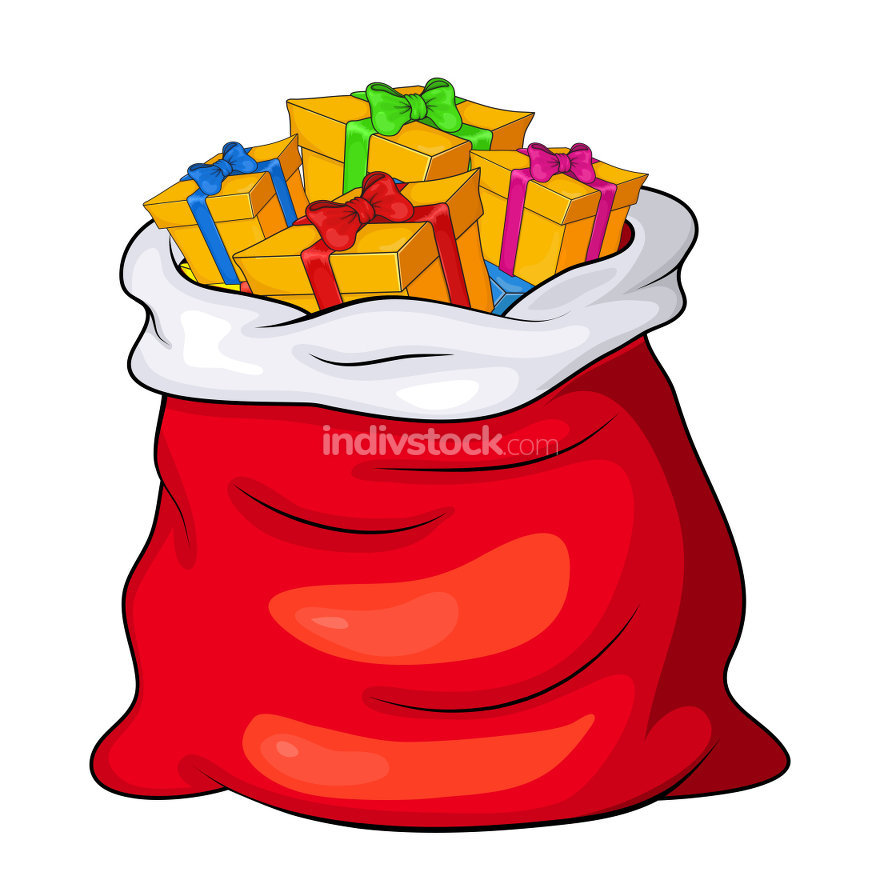 Christmas Santa's sack full of gift boxes and present packages
