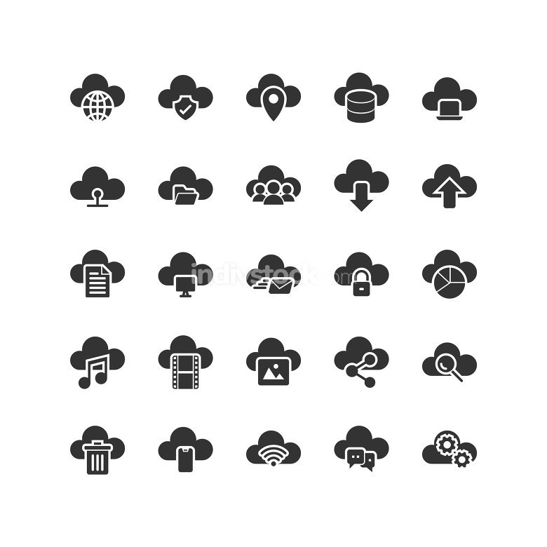 Cloud Computing solid icon set. Vector and Illustration.