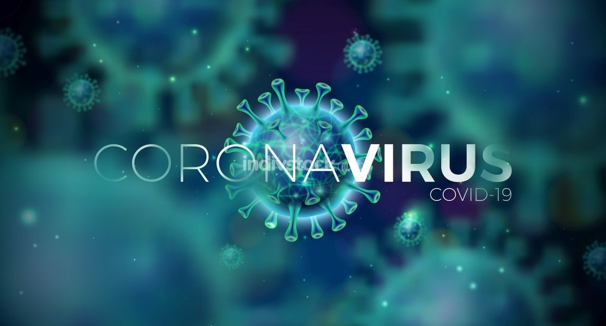 Covid-19. Coronavirus Outbreak Design with Virus Cell in Microscopic View on Blue Background. Vector Illustration Template on Dangerous SARS Epidemic Theme for Promotional Banner or Flyer.