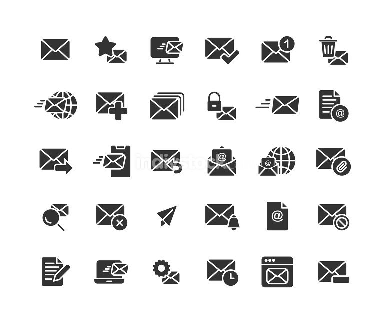 Email and Mail solid icon set