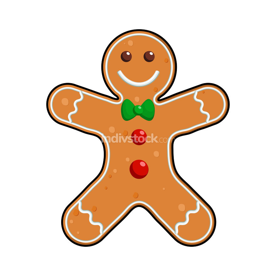 Gingerbread man Holiday cookie in shape of man, decorated colore