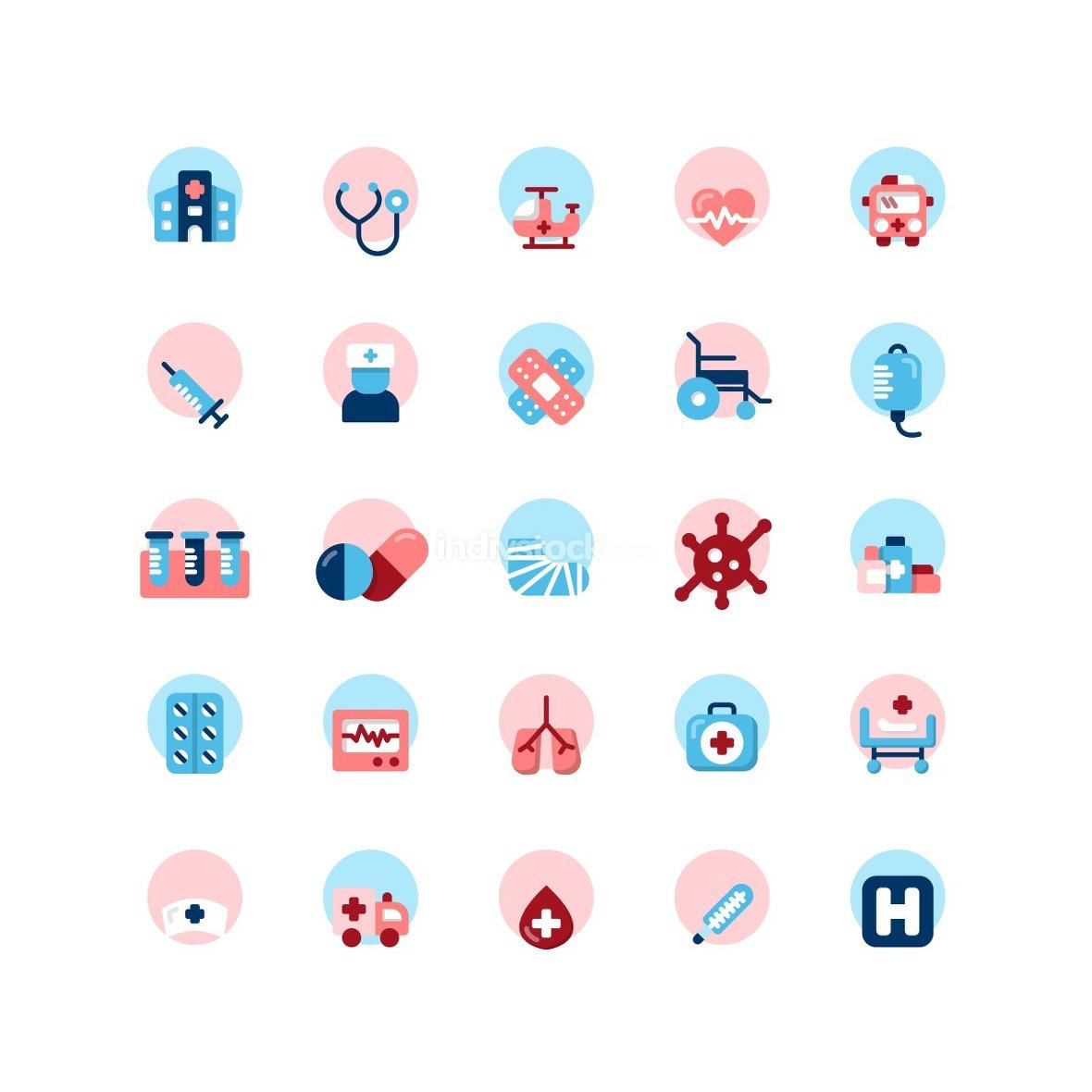 Hospital flat icon set. Vector and Illustration.