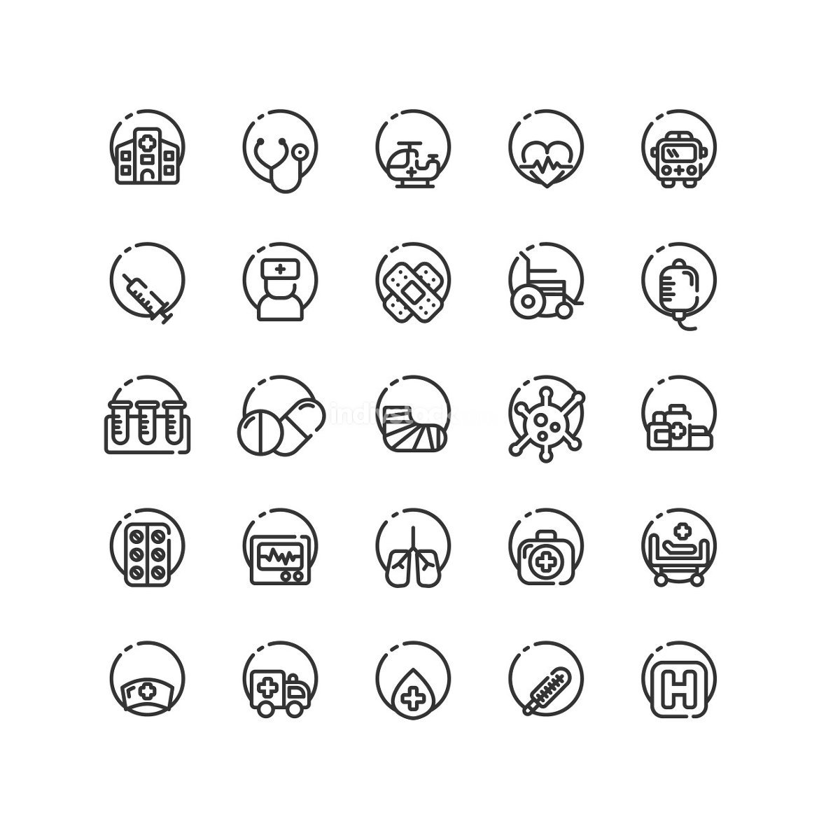 Hospital outline icon set. Vector and Illustration.