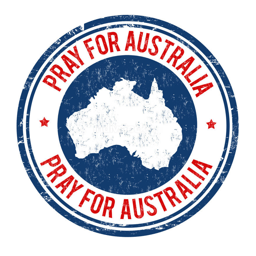 Pray for Australia sign or stamp