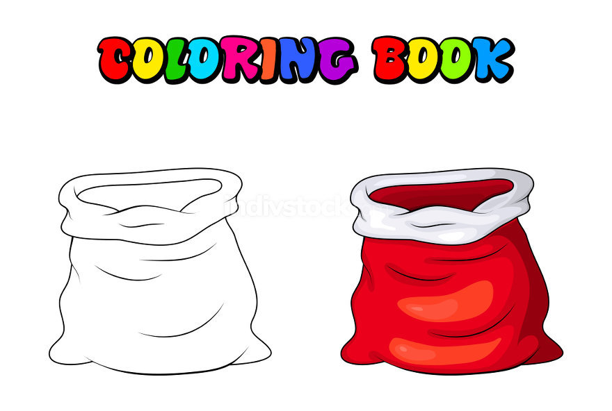 Red sack santa claus empty bag coloring book,pages. Cartoon illu
