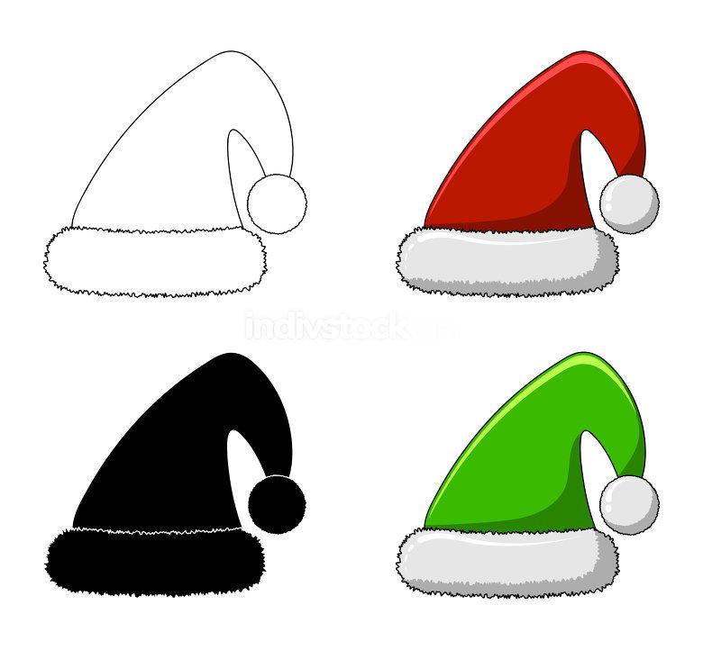santa cap cartoon set isolated