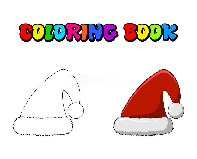 Santa cap vector illustration coloring book