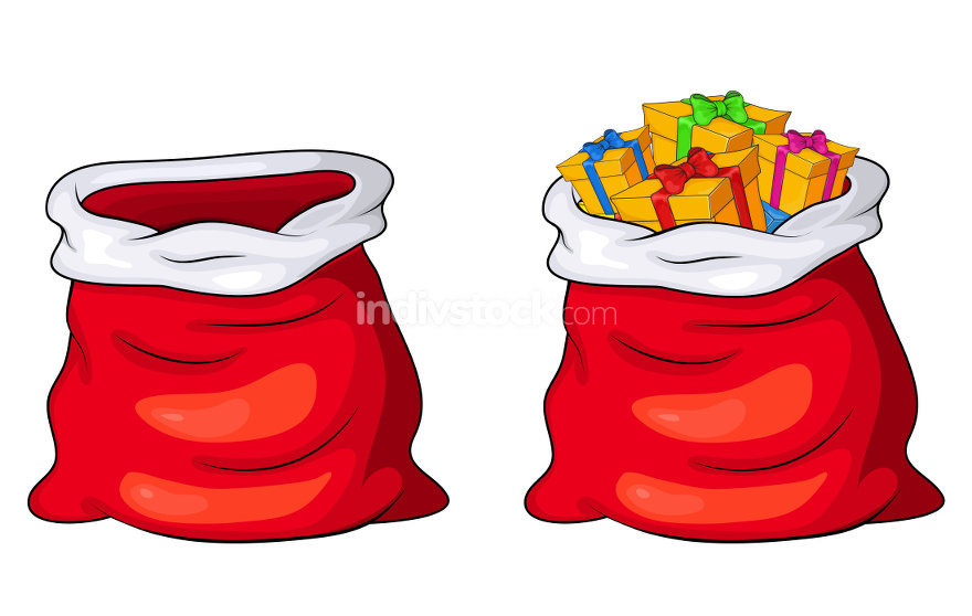 Santa Claus sack, bag empty and full with gifts and presents iso