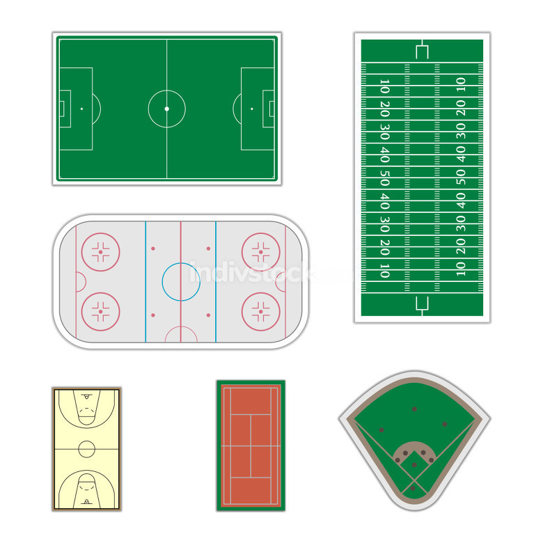 Set of sport fields, vector illustration.