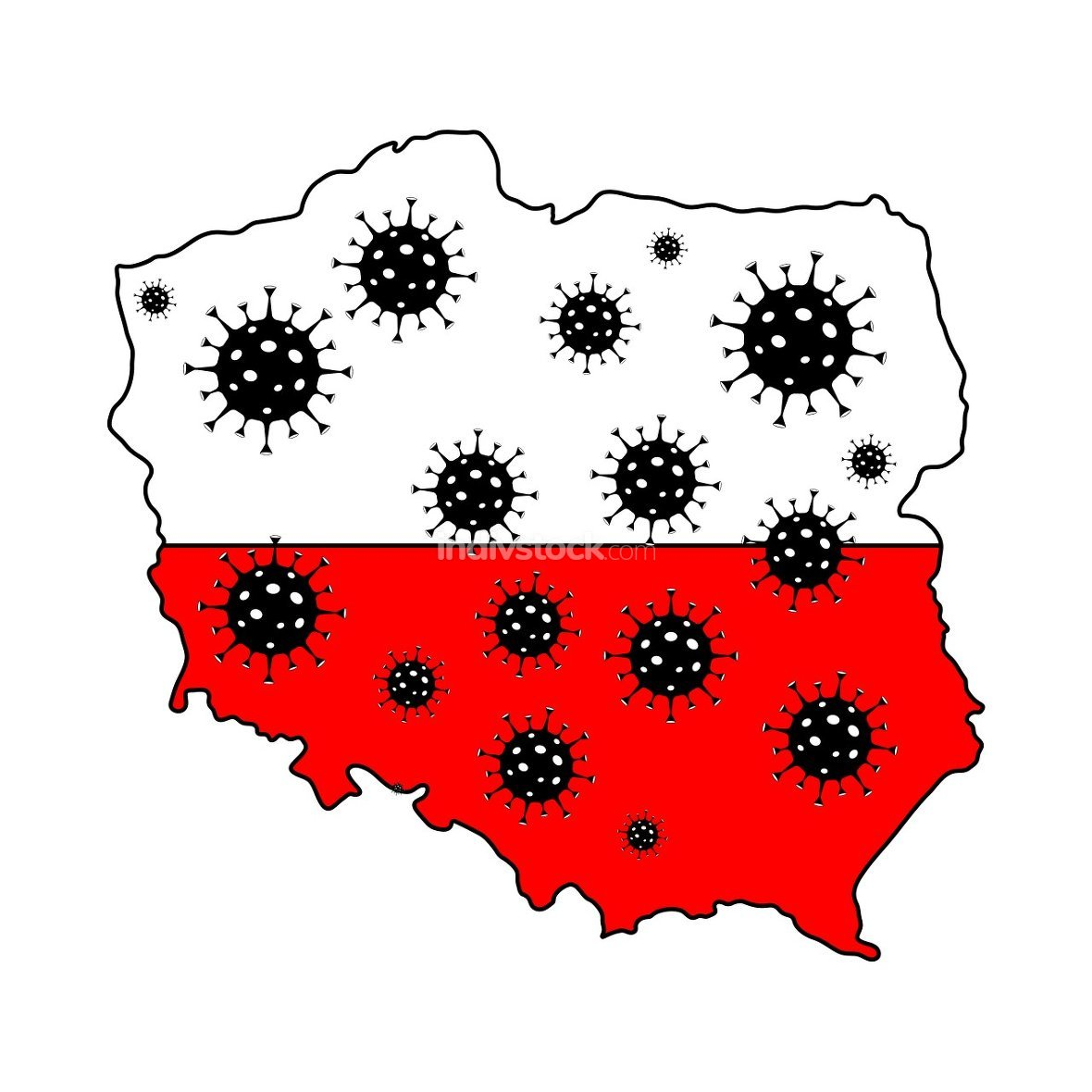 Stop coronavirus in Poland. Poland map flag with corona virus sy