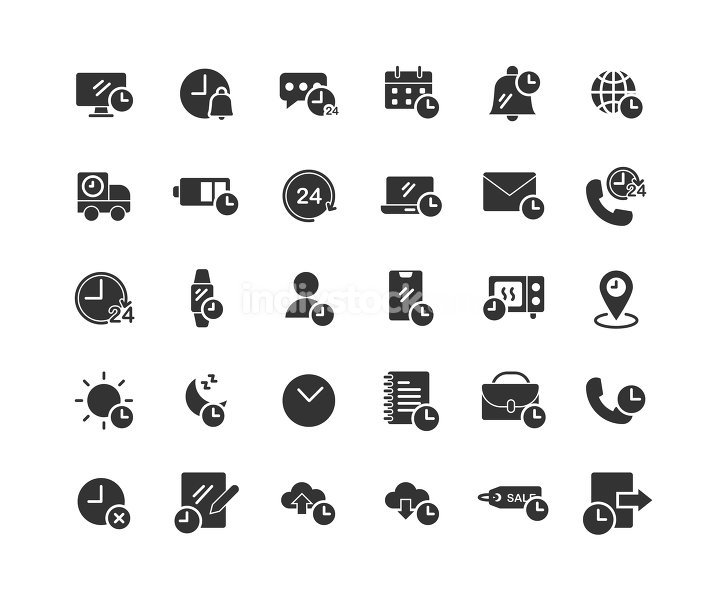 Time solid icon set