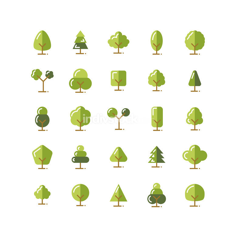 Tree flat icon set. Vector and Illustration.