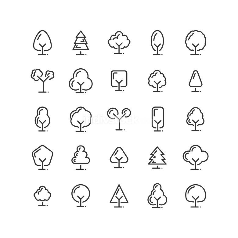 Tree outline icon set. Vector and Illustration.