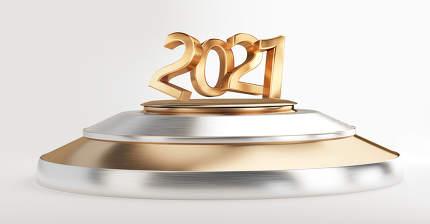 2021 bold letters pedestal podium golden silver 3d-illustration