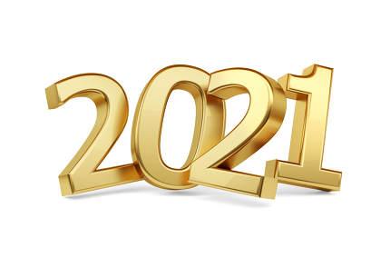 2021 golden bold letters. year 2021 isolated on white 3d-illustr