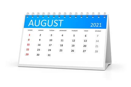 a table calendar for your events 2021 august 3d illustration