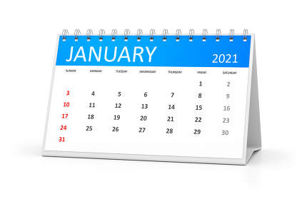 a table calendar for your events 2021 january 3d illustration