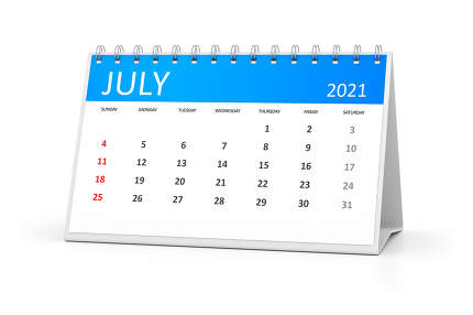 a table calendar for your events 2021 july 3d illustration