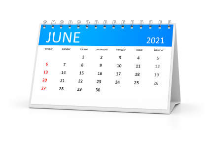 a table calendar for your events 2021 june 3d illustration
