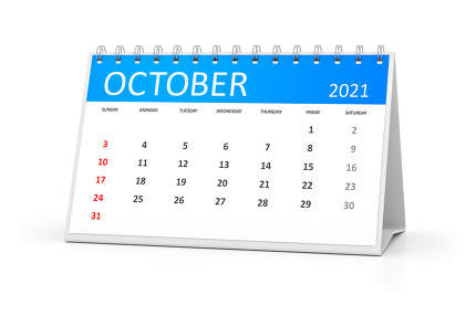 a table calendar for your events 2021 october 3d illustration