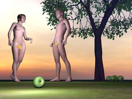 Adam and Eve - 3D render
