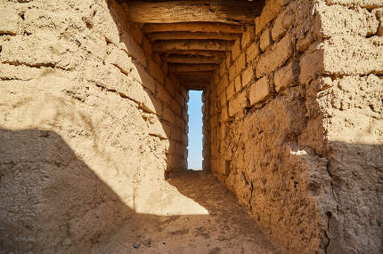 ancient Windows loopholes in the walls of clay in the ancient castle of the Parthian city